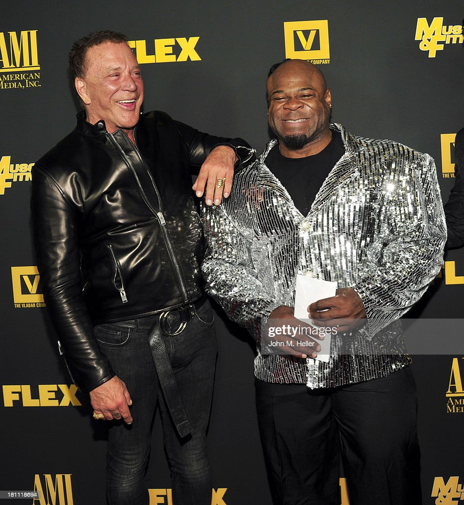 Actor <a gi-track='captionPersonalityLinkClicked' href=/galleries/search?phrase=Mickey+Rourke+-+Actor&family=editorial&specificpeople=208916 ng-click='$event.stopPropagation()'>Mickey Rourke</a> and bodybuilder Kai Green attend the Los Angeles premiere of 'Generation Iron' at the Chinese 6 Theatres in Hollywood on September 18, 2013 in Hollywood, California.