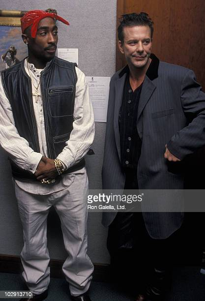 Actor Mickey Rourke and rapper Tupac Shakur attending 'Benefit Auction for Intercambios Culturales Project for El Salvador' on November 12 1994 at...