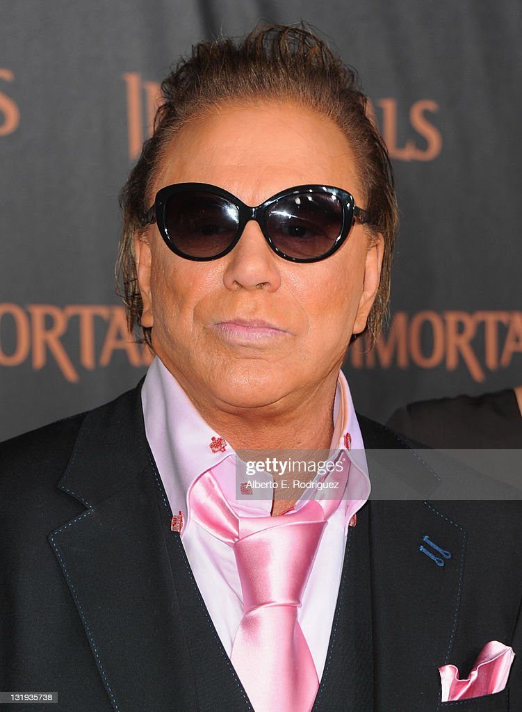 Actor <a gi-track='captionPersonalityLinkClicked' href=/galleries/search?phrase=Mickey+Rourke+-+Actor&family=editorial&specificpeople=208916 ng-click='$event.stopPropagation()'>Mickey Rourke</a> arrives at Relativity Media's 'Immortals' premiere presented in RealD 3 at Nokia Theatre L.A. Live at Nokia Theatre L.A. Live on November 7, 2011 in Los Angeles, California.