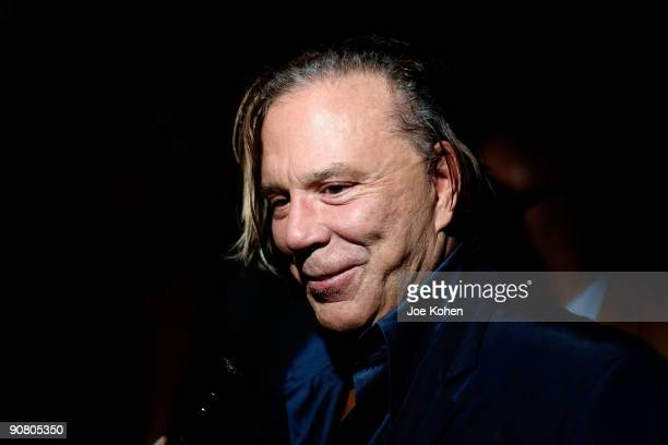 Actor Mickey Rourke attends Max Azria Spring 2010 during MercedesBenz Fashion Week at Bryant Park on September 15 2009 in New York City