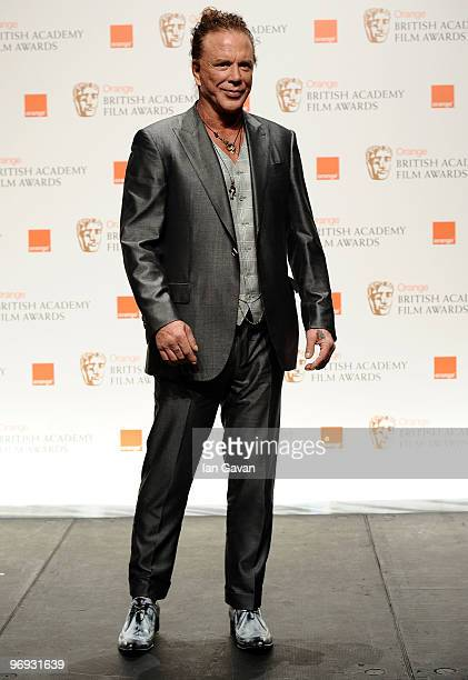 Actor Mickey Rourke poses in the awards room during Orange British Academy Film Awards 2010 at the Royal Opera House on February 21 2010 in London...