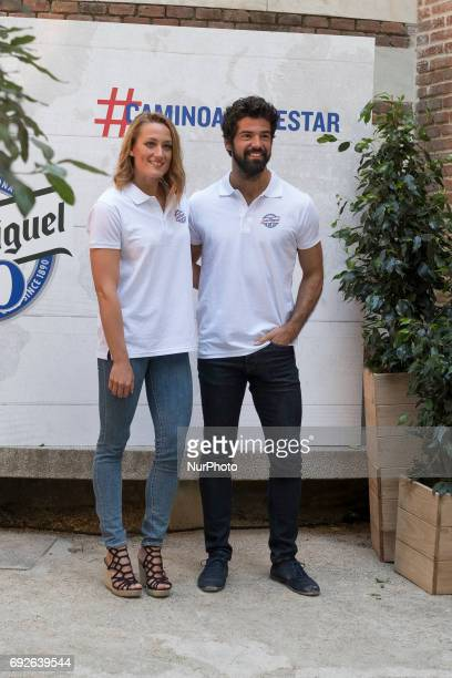 Actor Miguel Angel Munoz and swimmer Mireia Belmonte attend the '#caminoalbienestar' photocall at Lazaro Galdiano museum on June 5 2017 in Madrid...