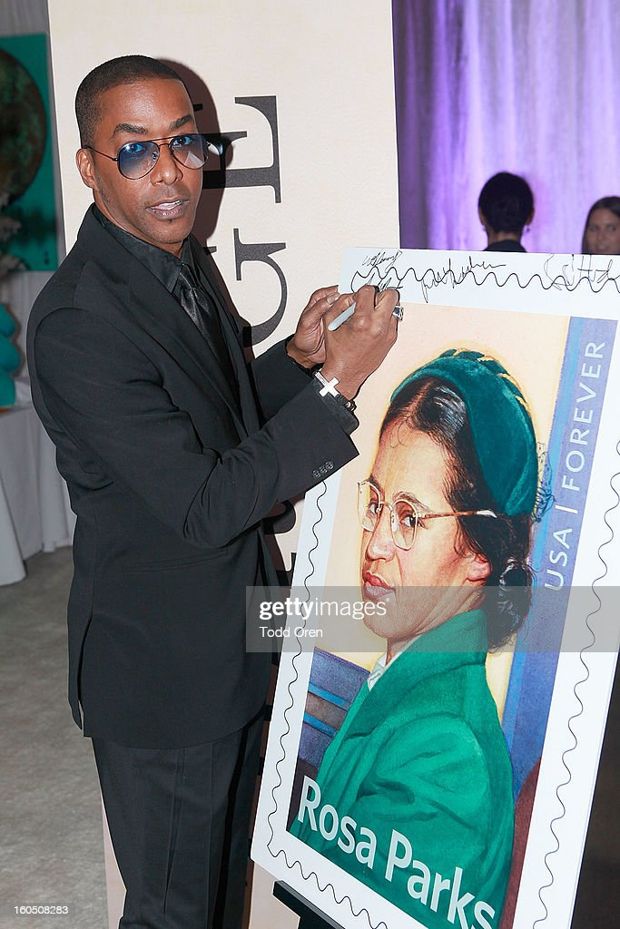 Actor Miguel Nunez previews the Rosa Parks Forever Stamp in the U.S. Postal Service Civil Rights Stamp Gallery backstage at the NAACP Image Awards on February 1, 2013 at The Shrine Auditorium.