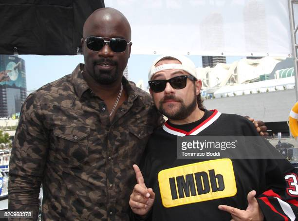 Actor Mike Colter and host Kevin Smith on the #IMDboat at San Diego ComicCon 2017 at The IMDb Yacht on July 22 2017 in San Diego California