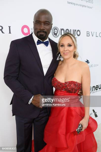 Actor Mike Colter and Iva Colter attend the 25th Annual Elton John AIDS Foundation's Academy Awards Viewing Party at The City of West Hollywood Park...