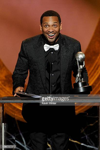 Actor Mike Epps accepts the award for Outstanding Supporting Actor in a Motion Picture for 'Jumping the Broom' onstage at the 43rd NAACP Image Awards...