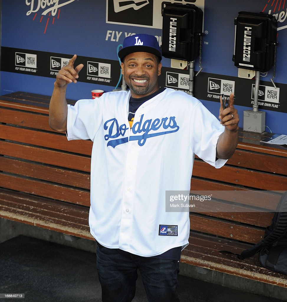 Actor <a gi-track='captionPersonalityLinkClicked' href=/galleries/search?phrase=Mike+Epps&family=editorial&specificpeople=2137559 ng-click='$event.stopPropagation()'>Mike Epps</a> in the Dodger dugout before throwing out the ceremonial first pitch before the MLB game between the Los Angeles Dodgers and Washington Nationals at Dodger Stadium on May 15, 2013 in Los Angeles, California.