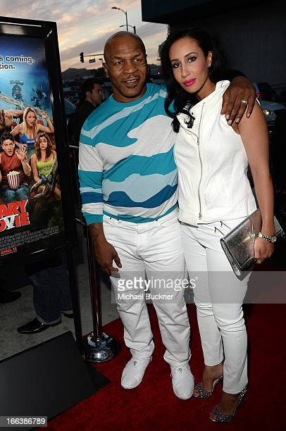 Actor Mike Tyson and Lakiha Spicer arrive for the premiere of Dimension Films' 'Scary Movie 5' at ArcLight Cinemas Cinerama Dome on April 11 2013 in...