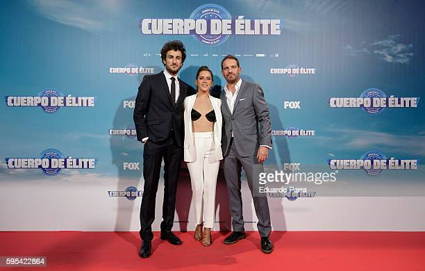 Actor Miki Esparbe actress Maria Leon director Joaquin Mazon attend the 'Cuerpo de Elite' premiere at Capitol cinema on August 25 2016 in Madrid Spain