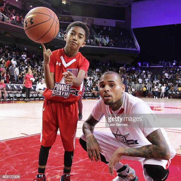 Actor Miles Brown and music artist Chris Brown attends 2016 Power 106 All Star Celebrity Basketball Game at USC Galen Center on September 11 2016 in...