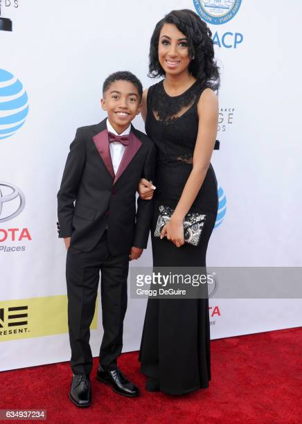 Actor Miles Brown and sister Kiana Brown arrive at the 48th NAACP Image Awards at Pasadena Civic Auditorium on February 11 2017 in Pasadena California