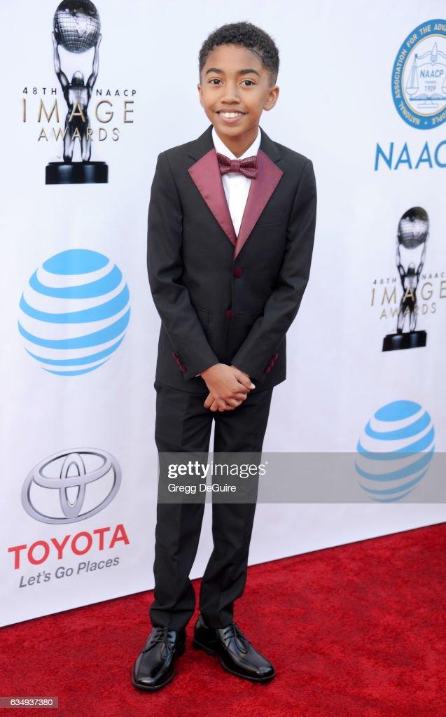 Actor Miles Brown arrives at the 48th NAACP Image Awards at Pasadena Civic Auditorium on February 11, 2017 in Pasadena, California.