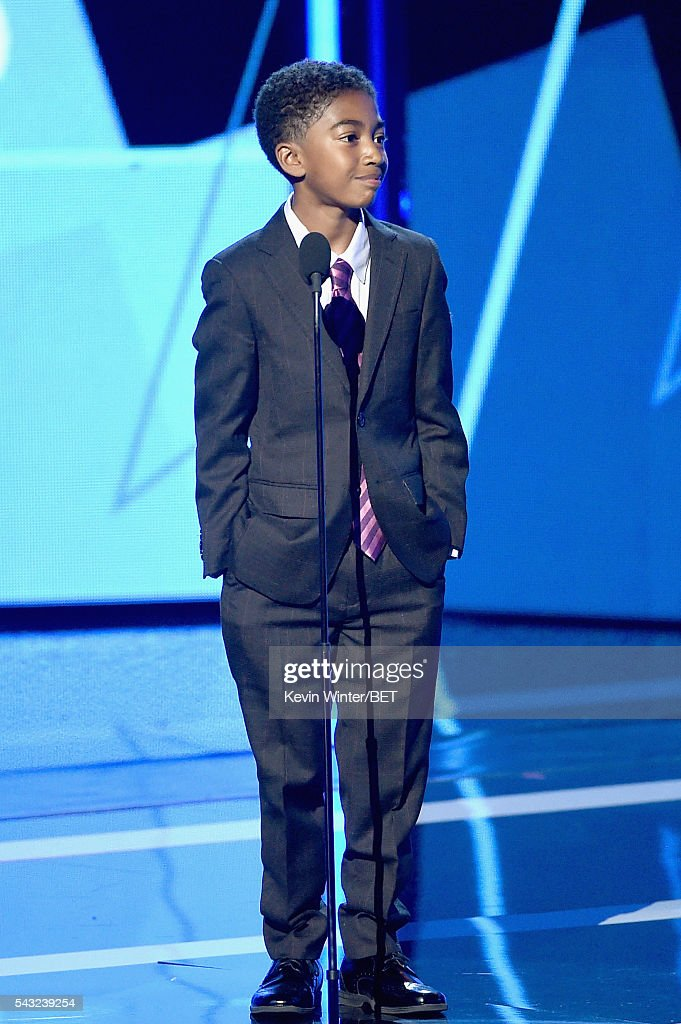 Actor <a gi-track='captionPersonalityLinkClicked' href=/galleries/search?phrase=Miles+Brown&family=editorial&specificpeople=6931307 ng-click='$event.stopPropagation()'>Miles Brown</a> speaks onstage during the 2016 BET Awards at the Microsoft Theater on June 26, 2016 in Los Angeles, California.