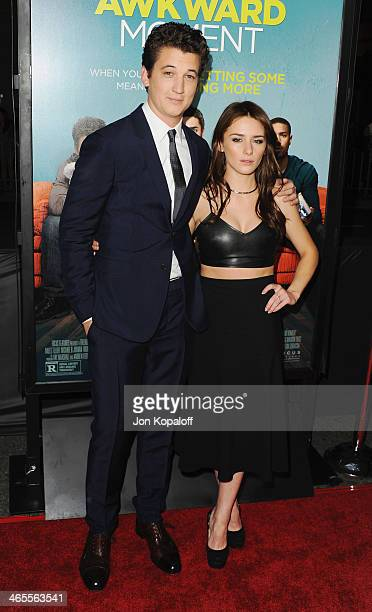 Actor Miles Teller and actress Addison Timlin arrive at the Los Angeles Premiere 'That Awkward Moment' at Regal Cinemas LA Live on January 27 2014 in...