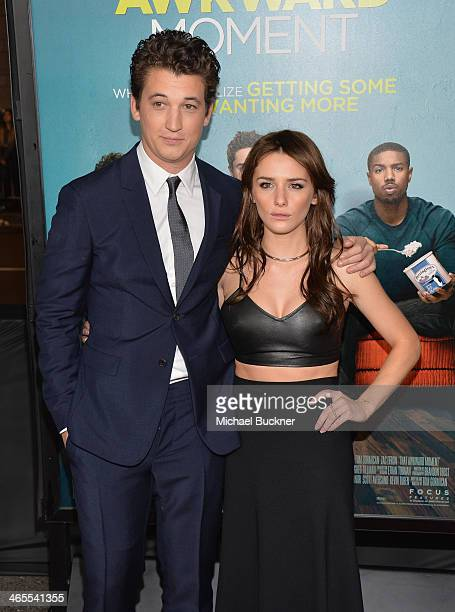Actor Miles Teller and actress Addison Timlin arrives at the premiere of Focus Features' 'That Awkward Moment' at Regal Cinemas LA Live on January 27...
