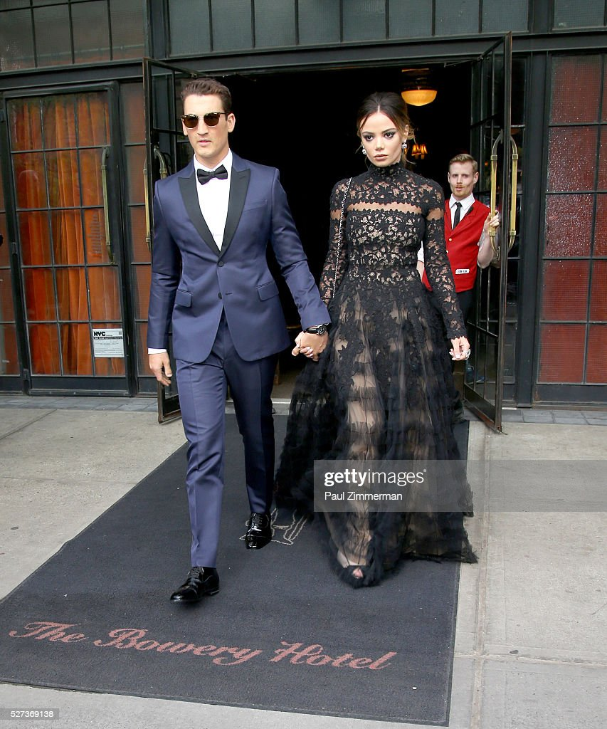 Actor Miles Teller and Keleigh Sperry are seen departing the Bowery Hotel on May 2 2016 in New York City
