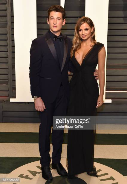 Actor Miles Teller and Keleigh Sperry arrive at the 2017 Vanity Fair Oscar Party Hosted By Graydon Carter at Wallis Annenberg Center for the...