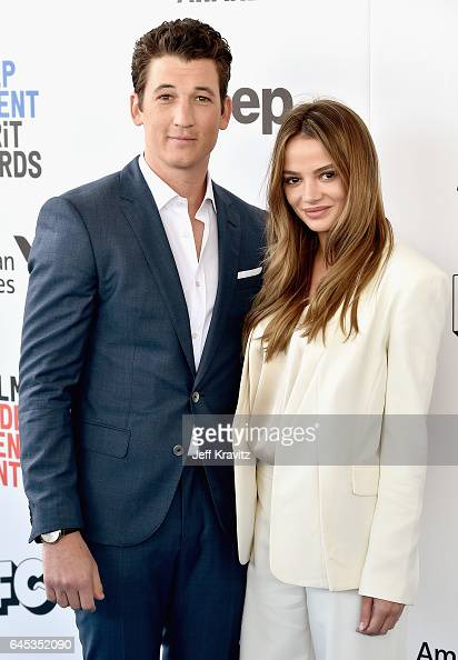 Actor Miles Teller and Keleigh Sperry attend the 2017 Film Independent Spirit Awards at the Santa Monica Pier on February 25 2017 in Santa Monica...