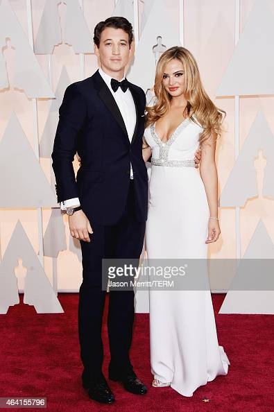 Actor Miles Teller and model Keleigh Sperry attend the 87th Annual Academy Awards at Hollywood Highland Center on February 22 2015 in Hollywood...