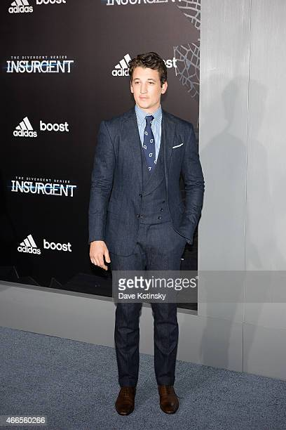 Actor Miles Teller arrive at the 'The Divergent Series Insurgent' New York premiere at Ziegfeld Theater on March 16 2015 in New York City