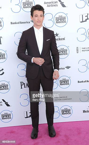 Actor Miles Teller arrives at the 2015 Film Independent Spirit Awards at Santa Monica Beach on February 21 2015 in Santa Monica California