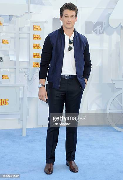 Actor Miles Teller arrives at the 2015 MTV Movie Awards at Nokia Theatre LA Live on April 12 2015 in Los Angeles California