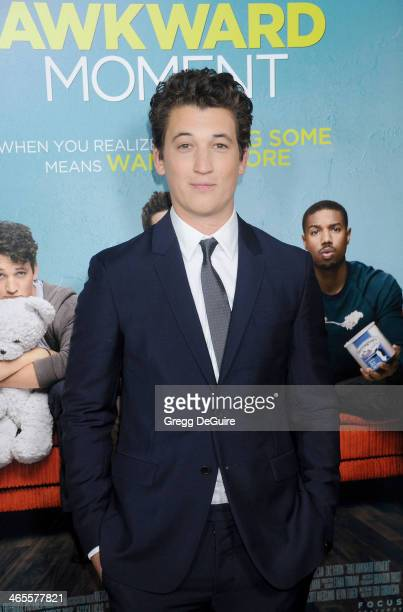 Actor Miles Teller arrives to the Los Angeles premiere of 'That Awkward Moment' at Regal Cinemas LA Live on January 27 2014 in Los Angeles California
