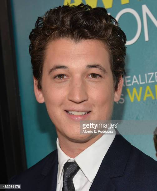 Actor Miles Teller arrives to the premiere of Focus Features' 'That Awkward Moment' at Regal Cinemas LA Live on January 27 2014 in Los Angeles...
