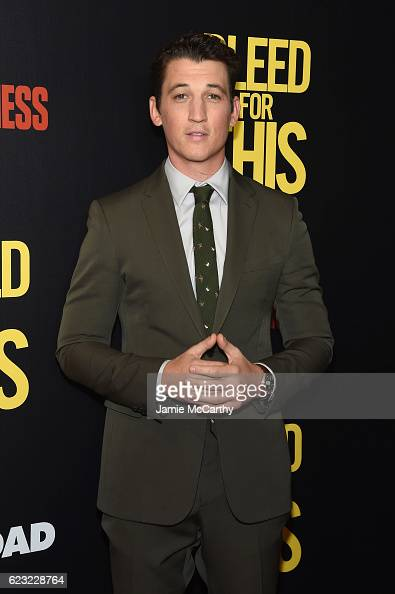 Actor Miles Teller attends as Open Road with Men's Fitness host the premiere of 'Bleed For This' at AMC Lincoln Square Theater on November 14 2016 in...