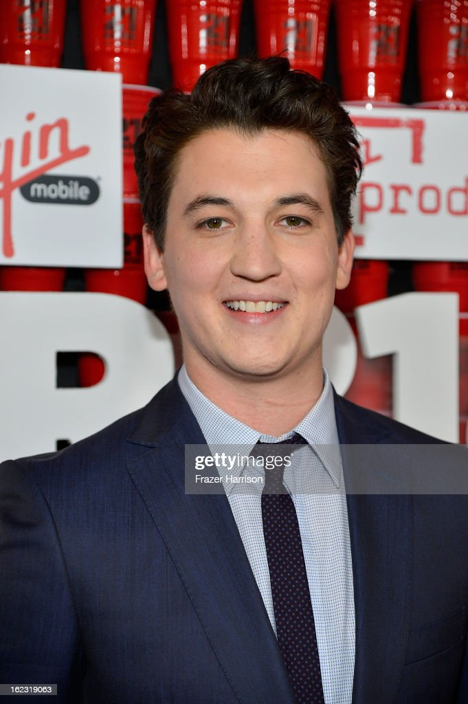 Actor <a gi-track='captionPersonalityLinkClicked' href=/galleries/search?phrase=Miles+Teller&family=editorial&specificpeople=6471673 ng-click='$event.stopPropagation()'>Miles Teller</a> attends Relativity Media's '21 and Over' premiere at Westwood Village Theatre on February 21, 2013 in Westwood, California.