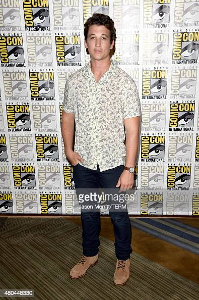 Actor Miles Teller attends the 20th Century Fox press room during ComicCon International 2015 at the Hilton Bayfront on July 11 2015 in San Diego...