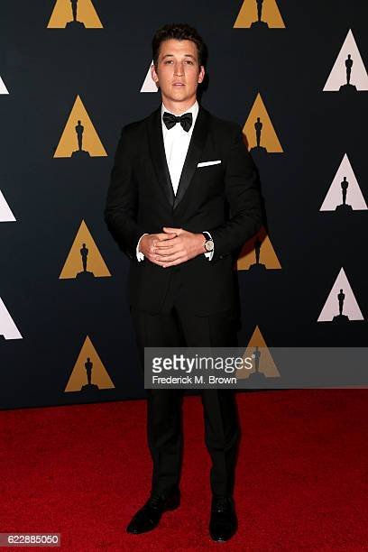 Actor Miles Teller attends the Academy of Motion Picture Arts and Sciences' 8th annual Governors Awards at The Ray Dolby Ballroom at Hollywood...