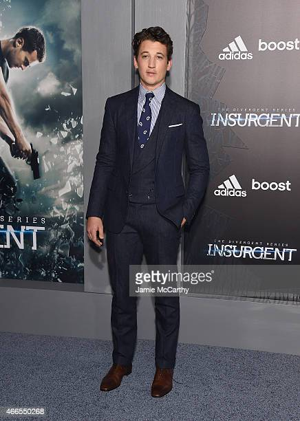 Actor Miles Teller attends 'The Divergent Series Insurgent' New York premiere at Ziegfeld Theater on March 16 2015 in New York City