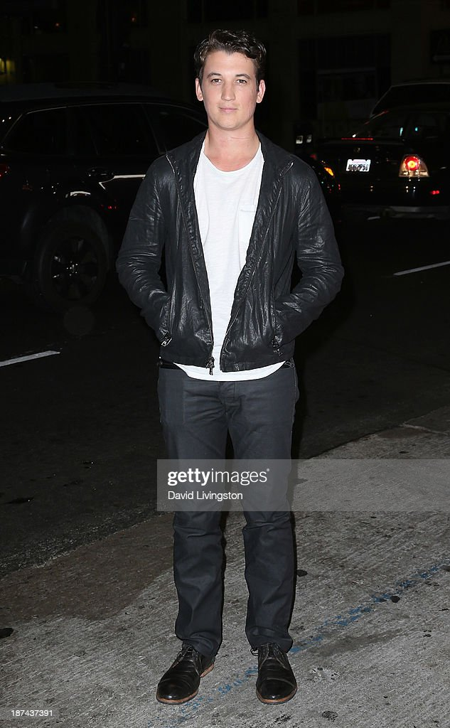 Actor <a gi-track='captionPersonalityLinkClicked' href=/galleries/search?phrase=Miles+Teller&family=editorial&specificpeople=6471673 ng-click='$event.stopPropagation()'>Miles Teller</a> attends the Los Angeles Times Young Hollywood Roundtable at AFI FEST 2013 presented by Audi at the TCL Chinese Theatre on November 8, 2013 in Hollywood, California.