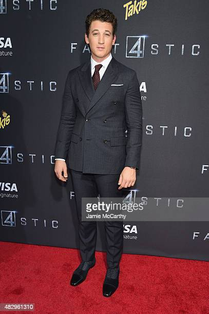 Actor Miles Teller attends the New York premiere of 'Fantastic Four' at Williamsburg Cinemas on August 4 2015 in New York City