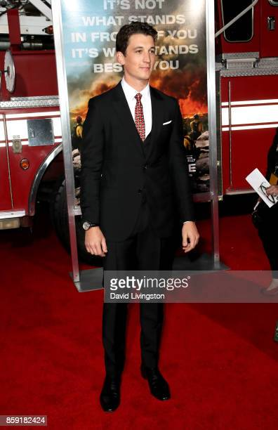 Actor Miles Teller attends the premiere of Columbia Pictures' 'Only the Brave' at Regency Village Theatre on October 8 2017 in Westwood California