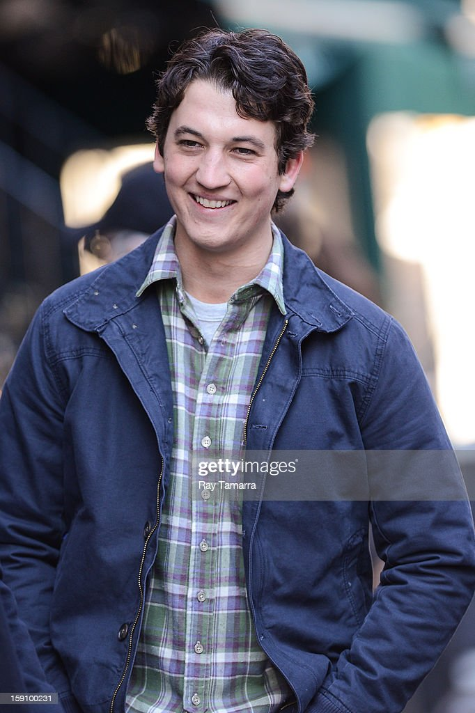 Actor <a gi-track='captionPersonalityLinkClicked' href=/galleries/search?phrase=Miles+Teller&family=editorial&specificpeople=6471673 ng-click='$event.stopPropagation()'>Miles Teller</a> leaves the 'Are We Officially Dating?' movie set in Grammercy Park on January 7, 2013 in New York City.