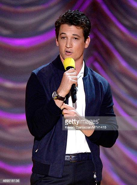 Actor Miles Teller speaks onstage during The 2015 MTV Movie Awards at Nokia Theatre LA Live on April 12 2015 in Los Angeles California