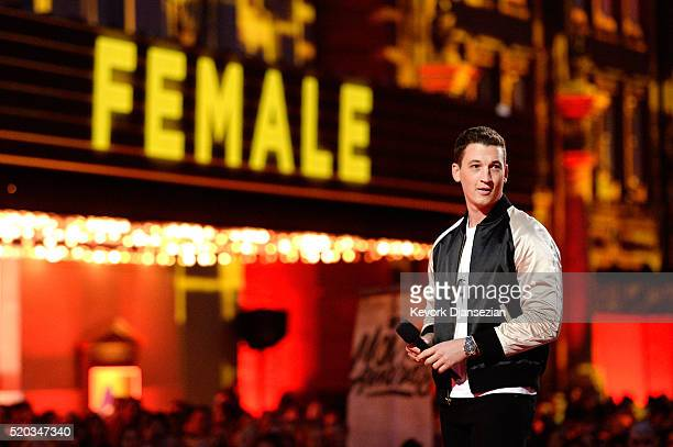 Actor Miles Teller speaks onstage during the 2016 MTV Movie Awards at Warner Bros Studios on April 9 2016 in Burbank California MTV Movie Awards airs...