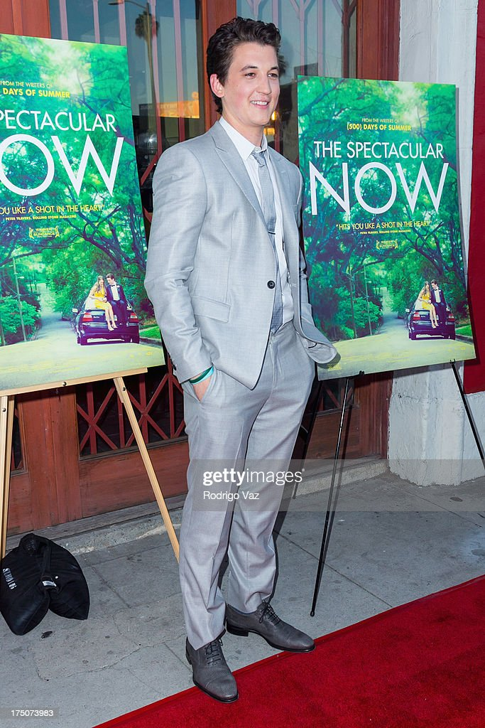 Actor Miles Teller wears Armani and arrives at 'The Spectacular Now' - Los Angeles Special Screening at the Vista Theatre on July 30, 2013 in Los Angeles, California.