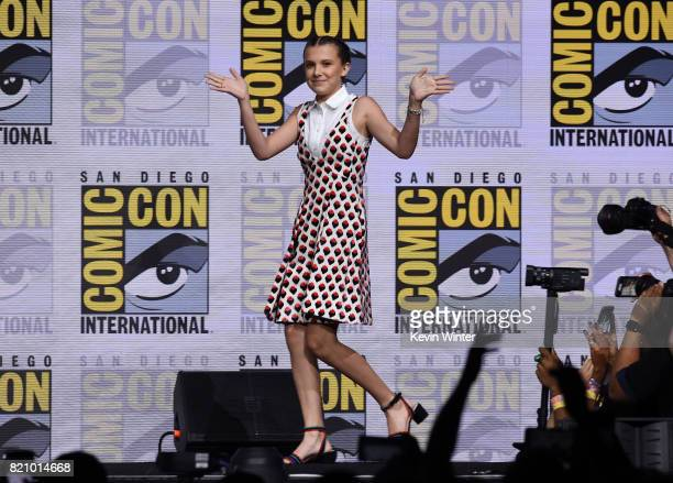 Actor Millie Bobby Brown at ComicCon International 2017 Netflix's 'Stranger Things' panel at San Diego Convention Center on July 22 2017 in San Diego...