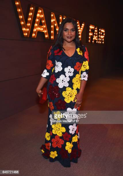 Actor Mindy Kaling attends the 2017 Vanity Fair Oscar Party hosted by Graydon Carter at Wallis Annenberg Center for the Performing Arts on February...