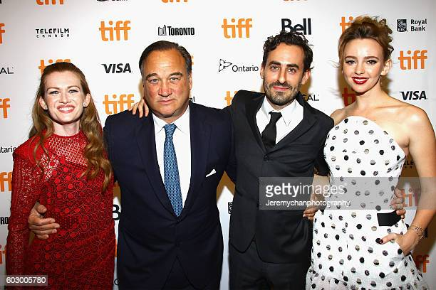 Actor Mireille Enos actor Jim Belushi director Wayne Roberts and actor Natasha Bassett attend the 'Katie Says Goodbye' premiere held at TIFF Bell...