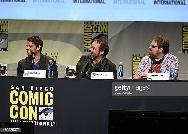Actor Misha Collins actor Mark Sheppard and producer Andrew Dabb speak onstage at the 'Supernatural' panel during ComicCon International 2015 at the...