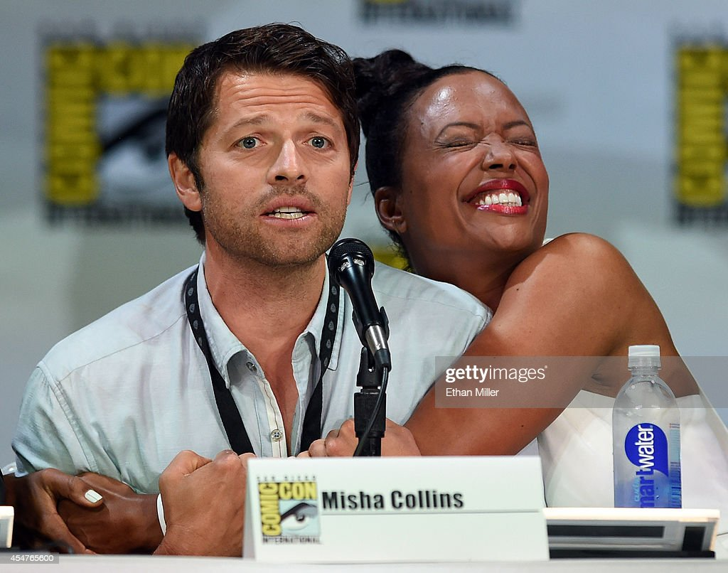 Actor Misha Collins (L) and actress Aisha Tyler attend the TV Guide Magazine: Fan Favorites panel during Comic-Con International 2014 at the San Diego Convention Center on July 26, 2014 in San Diego, California.