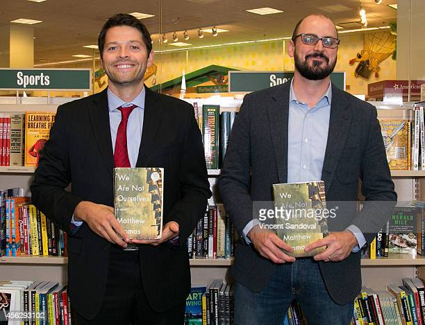 Actor Misha Collins and author Matthew Thomas attend the Matthew Thomas and Misha Collins book signing for 'We Are Not Ourselves' at Barnes Noble...