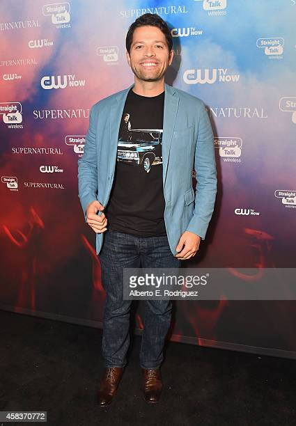 Actor Misha Collins attends the CW's Fan Party to Celebrate the 200th episode of 'Supernatural' on November 3 2014 in Los Angeles California