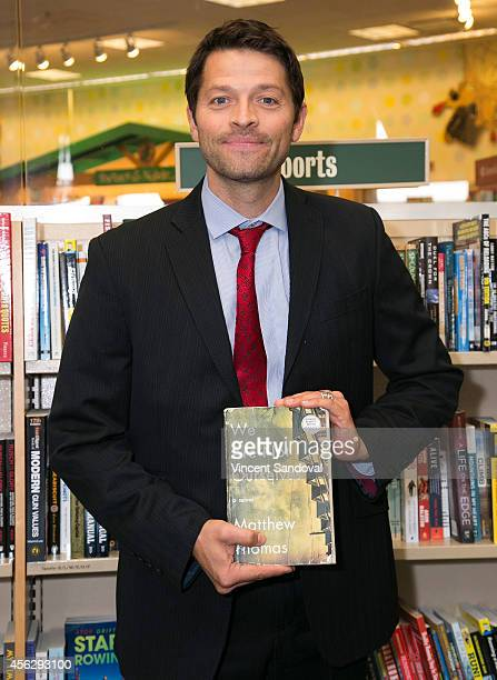 Actor Misha Collins attends the Matthew Thomas and Misha Collins book signing for 'We Are Not Ourselves' at Barnes Noble bookstore at The Grove on...