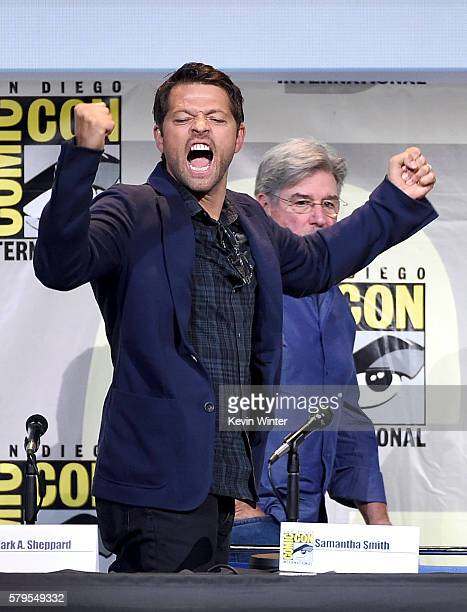 Actor Misha Collins attends the 'Supernatural' Special Video Presentation And QA during ComicCon International 2016 at San Diego Convention Center on...