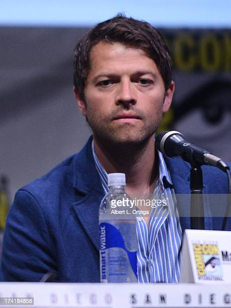 Actor Misha Collins speaks onstage at the 'Supernatural' special video presentation during ComicCon International 2013 at San Diego Convention Center...